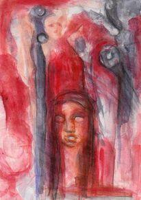 Menschen, Surreal, Rot, Malerei