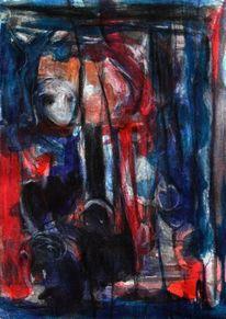Rot, Surreal, Mond, Blau