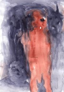 Abstrakt, Braun, Figural, Rot