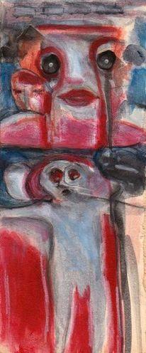 Surreal, Rot, Menschen, Malerei