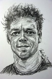 Selbstportrait, Sommer, Zeichnung, Kopf