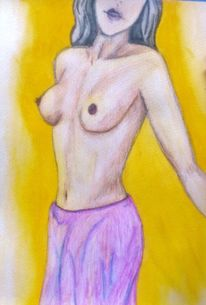 Zeichnung, Akt, Elegant, Aquarellmalerei