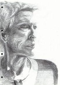Zeichnung, Frau, Frauenportrait, Portrait