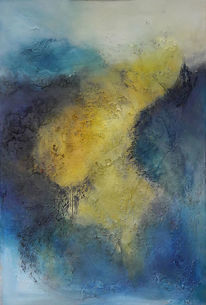 Blau, Malerei, Spachteltechnik, Gelb
