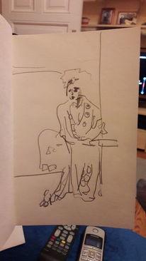 Nachdenklich, Frau, Morgenmantel, Zeichnungen