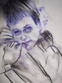 Portrait, Skizze, Frau, Zeichnung