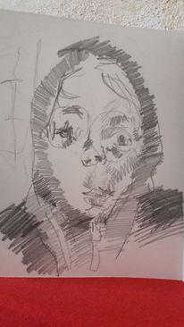 Rot, Kaputze, Junge, Zeichnungen