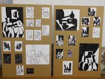 Schwarz weiß, Fleck, Linie, Malerei