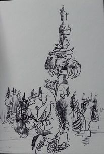 Kasachstan, Frau, Pferde, Zeichnungen