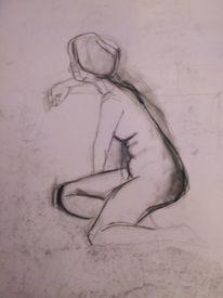 Akt, Frau, Sitzen, Zeichnungen