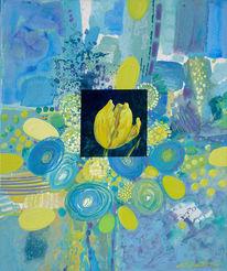 Acrylmalerei, Blumen, Figural, Grün
