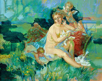Figural, Frau, Ölmalerei, Sommer