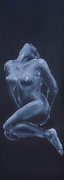 Acrylmalerei, Sitzen, Torso, Schwarz weiß