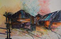 Schatten, Hütte, Alt, Aquarellmalerei