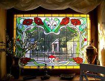 Bau, Glasfenster, Muster, Landhaus