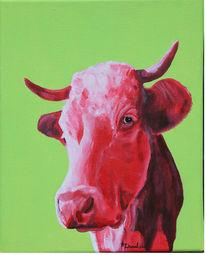 Acrylmalerei, Kuh, Bulle, Gegenwartskunst