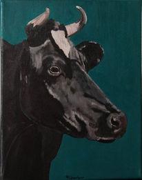 Zeitgenössische kunst, Ölmalerei, Kuh, Acrylmalerei