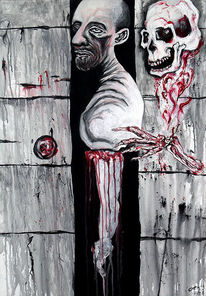 Skelett, Mauer, Leben, Tod
