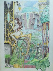 Urwald, Alte stadt, Jugendstil, Frau