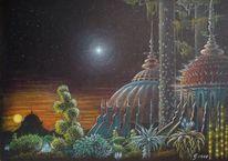 Doppelsternensystem, Tempel, Baum, Leuchtende pflanzen