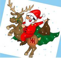 Weihnachtsmann, Rentier, Bescherung, Glückwunschkarte