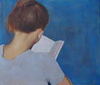 Frau, Blau, Buch, Malerei