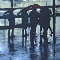 Spiegelung, Regenschirm, Blau, Malerei