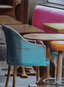 Tisch, Sessel, Café, Malerei