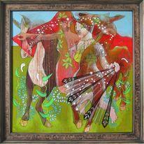 Zeichnung, Rot, Expressionismus, Mademoiselles