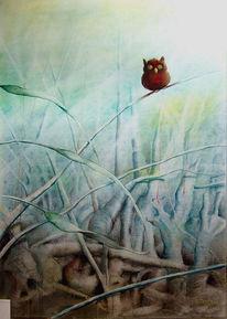 Landschaft, Kauz, Zeichnung, Vogel