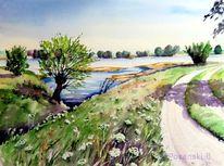 Elbe, Elberadweg, Aquarellmalerei, Landschaft
