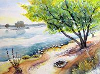 Landschaft, Fluss, Elbe, Aquarellmalerei