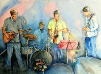 Jazz, Aquarellmalerei, Menschen, Musik
