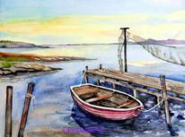 Landschaft, Boot, Aquarellmalerei, Steg