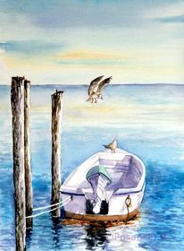 Boot, Möwe, Aquarell, Aquarelle landschaften