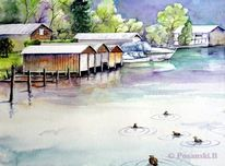 Lychen, Brandenburg, Boot, Aquarell