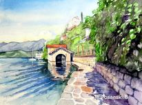 Italien, Bootshaus, Ortasee, See