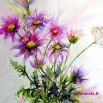 Blumen, Aquarellmalerei, Bunte margeriten, Margerite