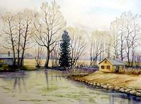 Fluss, Flusslandschaft, Landschaftsmalerei, Aquarell