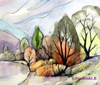See, Aquarellmalerei, Herbst, Kleinpösna