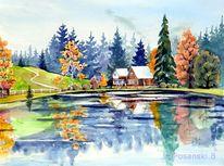 Herbst, Isergebirge, Tschechei, Landschaft aquarell