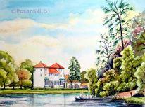 Aquarellmalerei, Landschaft, Park, Aquarell