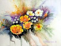Mohn, Blumen, Kalifornischer, Aquarellmalerei