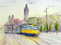 Neues rathaus, Aquarellmalerei, Straßenbahn, Leipzig