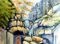 Wasserfall, Aquarellmalerei, Lichtenhainer wasserfall, Landschaft