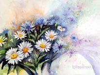 Aquarellmalerei, Magariten, Blumen, Kornblumen