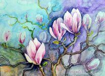 Blumen, Blüte, Aquarellmalerei, Magnolien