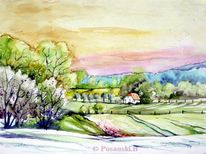 Landschaftsmalerei, Landschaft, Mecklenburg, Aquarell
