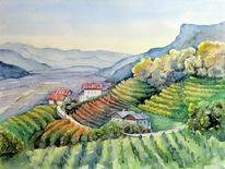 Wallweg, Aquarellmalerei, Südtirol, Obstbauernhof