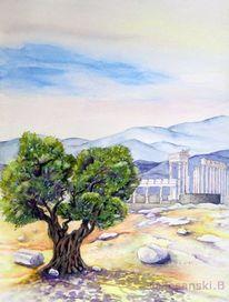 Olivenbaum, Aquarell, Aquarelle landschaften, Türkei